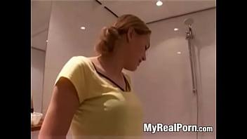 Dutch lesbians have fun in bathroom