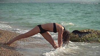 Kim Nadara sexy gymnastics by the sea