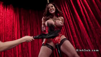 Blonde anal fucks tied up huge tits slave