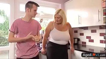 blonde bbw kitchen