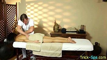 Asian babe enjoys massage