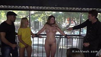 Big tits brunette fucked in public caffe