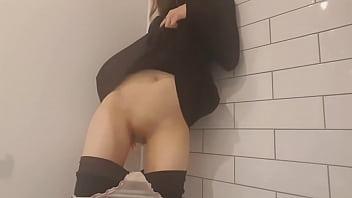 Russian girl masturbating with fingers under skirt