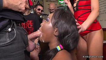 Ebony bbw fucked and disgraced in public bar