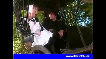 Cute blonde fucking in horsecart