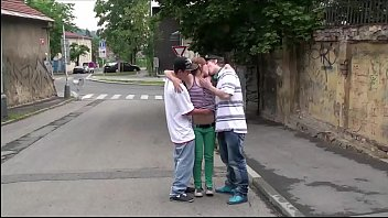 Hot young teen Alexis Crystal PUBLIC street gang bang sex orgy