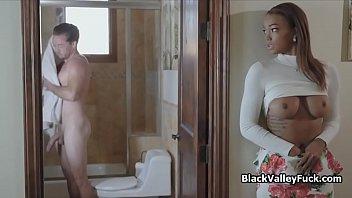 Juicy big tit ebony rides white fat cock