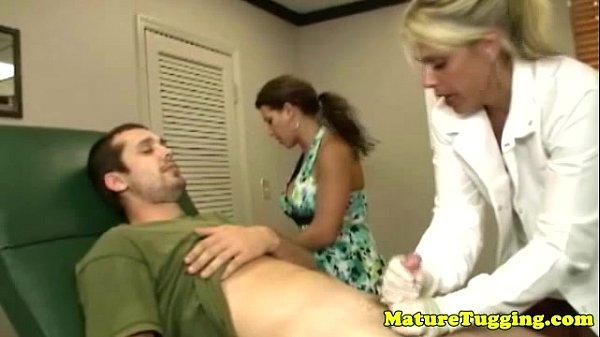 Milf matures tugging hard cock together