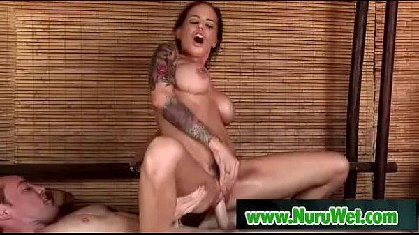 Hot asian masseuse sucking and fucking cock during nuru massage 09