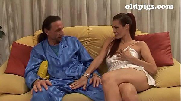 Amazing mature brunette seduces a young man for fuck