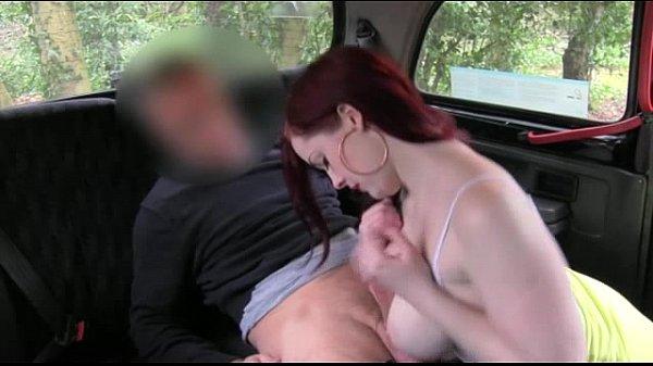 Busty redhead babe sucks off taxi driver