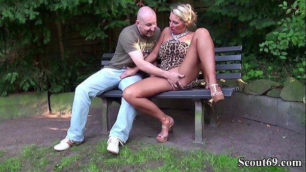 German Big Tits MILF Seduce Stranger to Fuck in Park