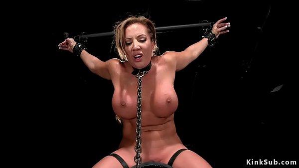 Brunette Milf toyed in device bondage