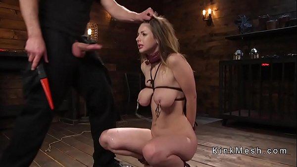 Big natural tits slave gets deep throat
