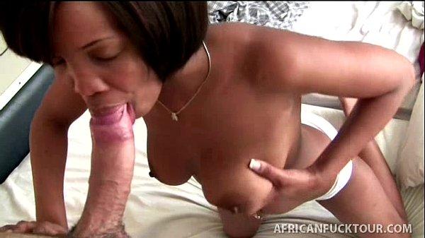 Short hair black whore gives great cock massage