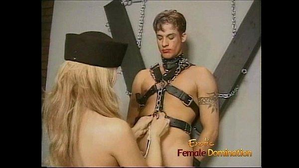 Horny stud enjoys having his throbbing boner tied up by two sluts