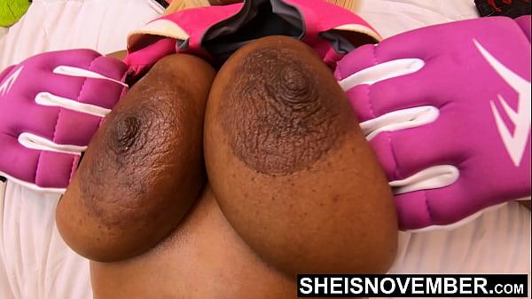 Seductive Ebony Bomb Shell Giant Nipples Big Areolas Fat Bosom On Tiny Attractive Girl Msnovember Squeezing Titties Closeup Saggy Natural Boob 4k Sheisnovember
