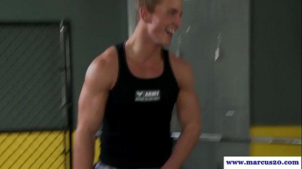 Jizzed muscular studs in handjob train