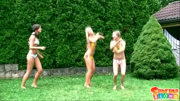 3 teenie girls fooling around & masturbating outdoors