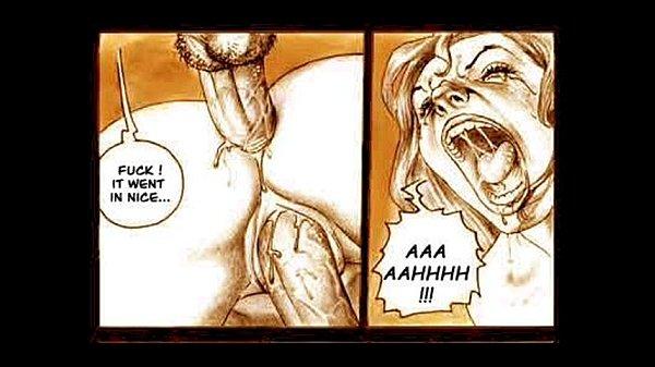 Viser pornografi billeder til tegneserie tvunget sex slave tegneserie-7572