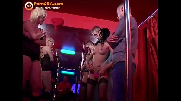 Real amateur cumshot orgy in swinger club