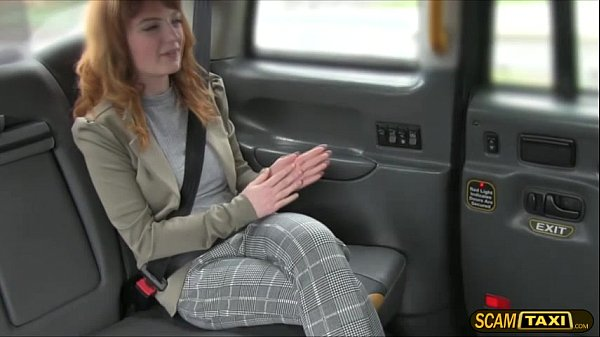 Euro redhead slut gets banged hard in the backseat by the driver
