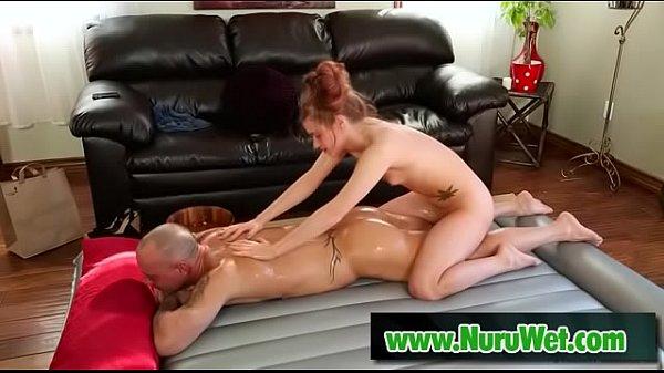 Kurt Lockwood takes nuru massage from skinny masseuse Alaina Dawson