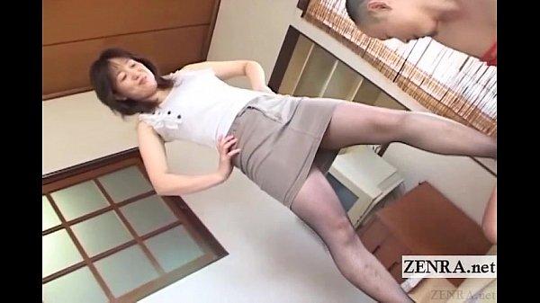 Bound mature foot tease