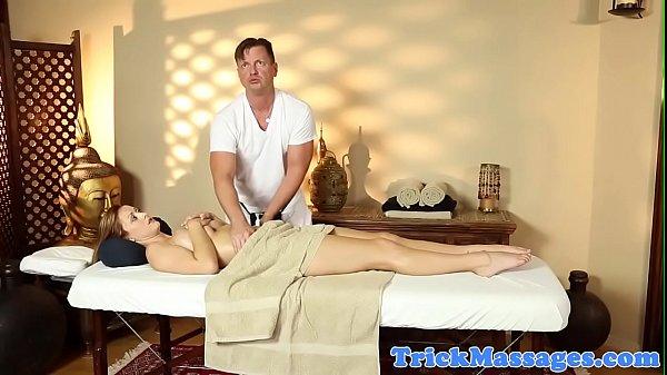 Cocksucking babe pleasing her masseurs dick