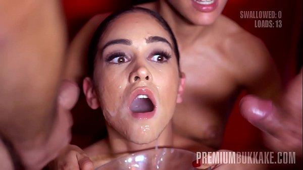 Premium Bukkake - Ginebra Bellucci swallows 94 huge mouthful cumshots