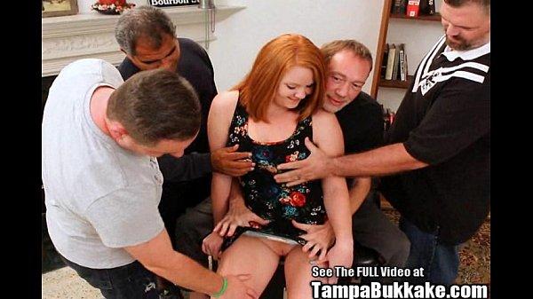 Big tittied ginger Cherry gangbanged and covered in bukkake