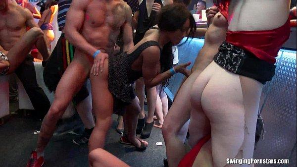 Dressed women dominate naked men