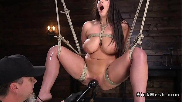 Huge tits brunette hogtie toyed