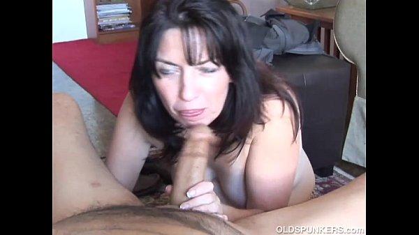 Sexy bbw  milf gives stud sloppy blowjob
