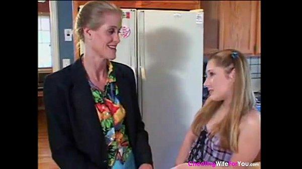 Strapon lesbian kitchen girls