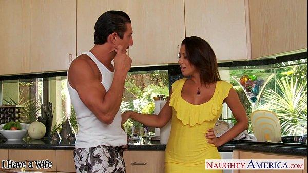 Brunette wife Rachel Starr taking cock in kitchen