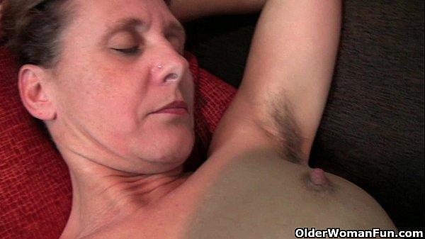 Woman Seduces Boy: Granny Inge Gets Fingered Up Her Full Bushed Pussy