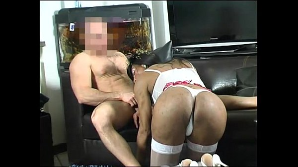 Sexy transsexual maid fucks amateur guy in this interracial video