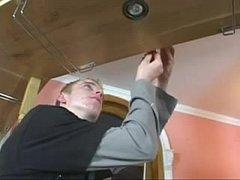 Milf fucks young electrician...