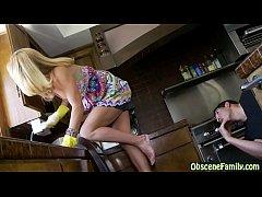 Perverted son peeks under step mom's skirt