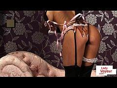 Lingeried UK maid instructs...