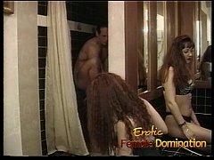 Kinky brunette bitch enjoys pleasuring feet of a naughty couple