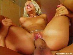All Internal Blonde gets a big load of cum shot...