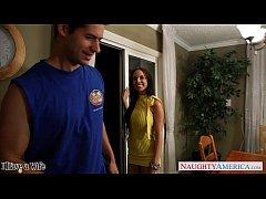 Brunette cutie in yellow dress Brandy Aniston f...