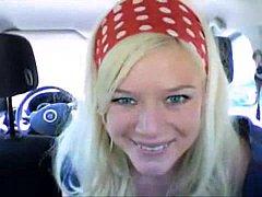 Fingerfun in her Car
