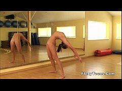 Cute gymnast girl performs...
