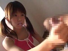 Subtitled Japanese naive schoolgirl CFNM handjo...