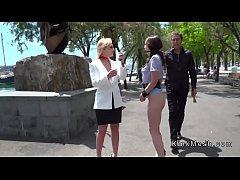 Brunette on leash disgraced in public