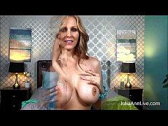 Blonde Milf Julia Ann Fingers her Pussy in Bed!