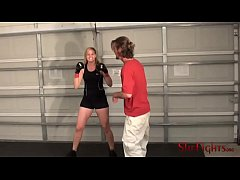 thumb cassidy s new gloves   blonde fighter kicking man slave